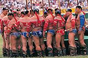 Mongolian wrestlers<br /> Naadam festival<br /> Ulaanbaatar race track<br /> Mongolia