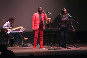 """19 January 2015-Santa Barbara, CA: The Arlington Theater Program, Prelude: Shelter w/Ron Paris, Wendy Sims-Moten and Julie Carlson.  Santa Barbara Honors Dr. Martin Luther King Jr. with a Day of Celebration.  The Santa Barbara MLK, Jr. Committee chose """"Drum Majors for Justice"""" as it's theme for the day which included a Pre-March Program in De la Guerra Plaza followed by a march up State Street to the Arlington Theater for speakers, music and poetry.  The program concluded with a Community Lunch at the First United Methodist Church in Santa Barbara.  Photo by Rod Rolle"""