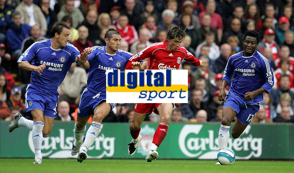 Photo: Paul Thomas.<br /> Liverpool v Chelsea. The FA Barclays Premiership. 19/08/2007.<br /> <br /> Goal scorer Fernando Torres (Red) of Liverpool battles  John Terry, Frank Lampard (2nd L) and John Obi Mikel.