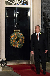 London, UK. 3 December, 2019. Viktor Orbán, Prime Minister of Hungary, arrives for a reception for NATO leaders at 10 Downing Street on the eve of the military alliance's 70th anniversary summit at a luxury hotel near Watford.