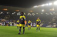 a dejected Wilfried Bony of Swansea city walks off at end of match after his team lose 3-1.  Capital one cup 3rd round match, Birmingham city v Swansea city at St.Andrews in Birmingham on Wed 25th Sept 2013. pic by Andrew Orchard, Andrew Orchard sports photography.