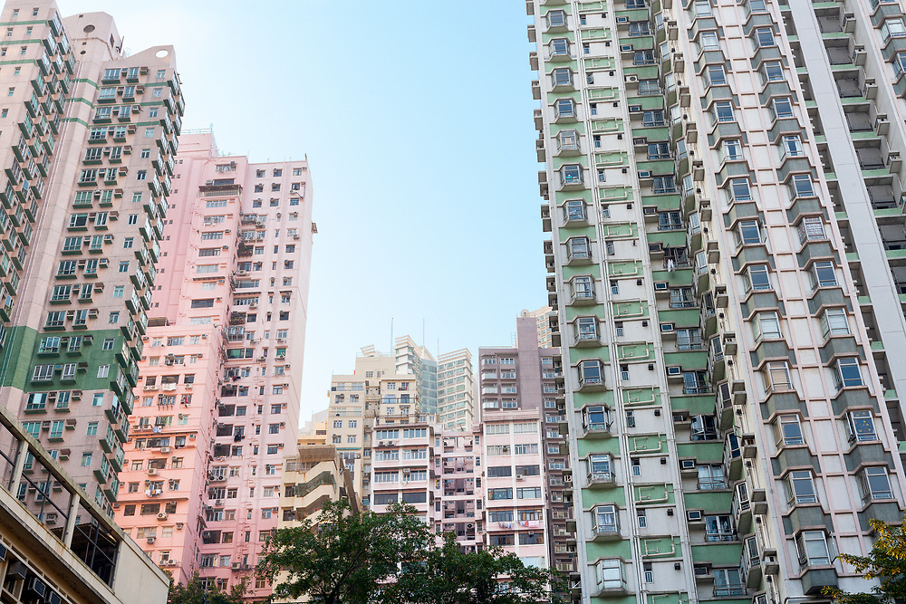 Skyline of tall residential skyscrapers of apartments in Central Hong Kong, China