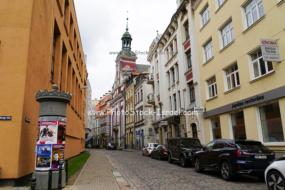 Busy street Old Town of Riga, Latvia