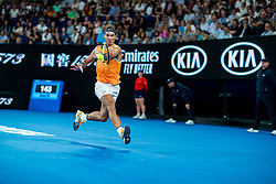 January 16, 2019 - Melbourne, VIC, U.S. - MELBOURNE, VIC - JANUARY 16: RAFAEL NADAL (ESP) during day three match of the 2019 Australian Open on January 16, 2019 at Melbourne Park Tennis Centre Melbourne, Australia (Photo by Chaz Niell/Icon Sportswire) (Credit Image: © Chaz Niell/Icon SMI via ZUMA Press)
