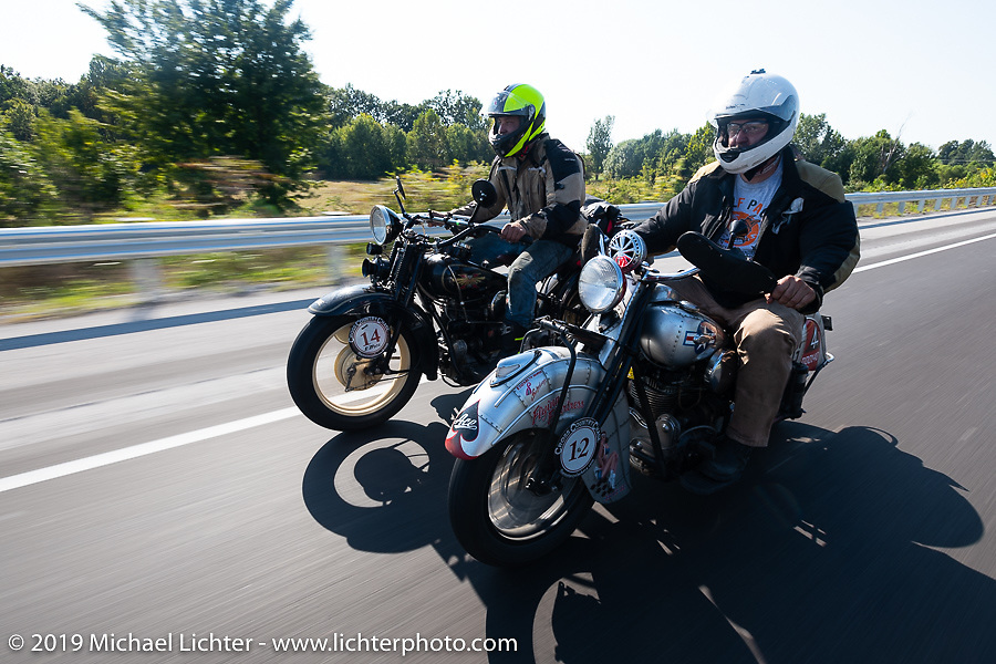 Loring Hill (L) riding a 4-cylinder Henderson with his Dad Mark on his 1940 Indian 4-cylinder during the Cross Country Chase motorcycle endurance run from Sault Sainte Marie, MI to Key West, FL (for vintage bikes from 1930-1948). Stage 4 saw a 315 mile ride from Urbana, IL to Bowling Green, KY USA. Monday, September 9, 2019. Photography ©2019 Michael Lichter.