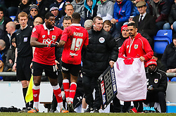 Bristol City's Kieran Agard is replaced by Bristol City's Jay Emmanuel-Thomas  - Photo mandatory by-line: Matt McNulty/JMP - Mobile: 07966 386802 - 03/04/2015 - SPORT - Football - Oldham - Boundary Park - Oldham Athletic v Bristol City - Sky Bet League One