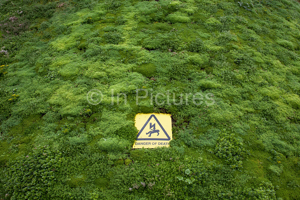 Warning sign reads Danger of Death on a green planted growing wall. The sign warns against electric shock from an electricity power generator. London, UK.