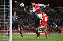 Arsenal's Olivier Giroud heads wide during the UEFA Champions League Round of 16, Second Leg match at the Emirates Stadium, London.