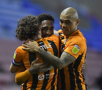 Hull City's Mallik Wilks is congratulated on scoring his team's 2nd goal<br /> <br /> Photographer Dave Howarth/CameraSport<br /> <br /> The EFL Sky Bet League One - Wigan Athletic v Hull City - Wednesday 17th February 2021 - DW Stadium - Wigan<br /> <br /> World Copyright © 2021 CameraSport. All rights reserved. 43 Linden Ave. Countesthorpe. Leicester. England. LE8 5PG - Tel: +44 (0) 116 277 4147 - admin@camerasport.com - www.camerasport.com