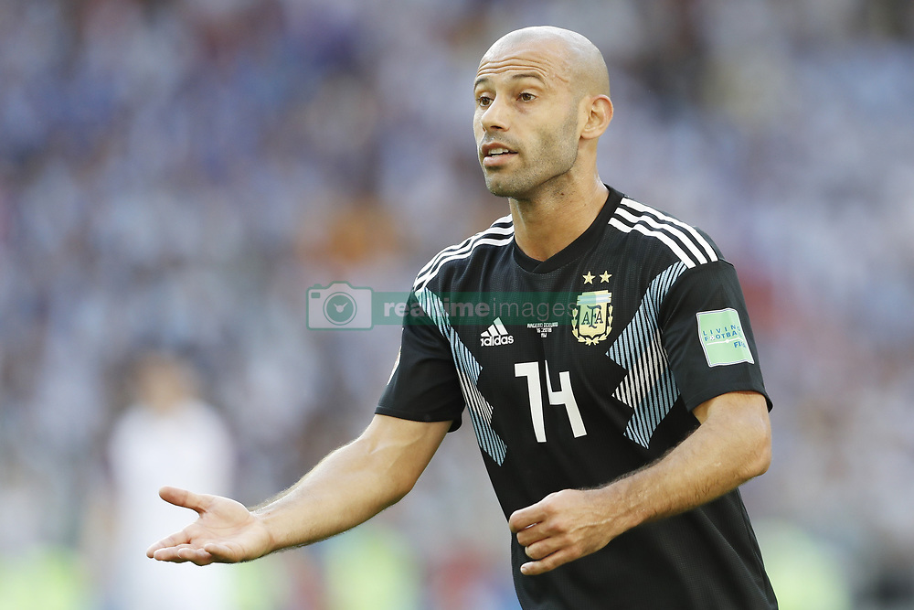 Javier Mascherano of Argentina during the 2018 FIFA World Cup Russia group D match between Argentina and Iceland at the Spartak Stadium on June 16, 2018 in Moscow, Russia.