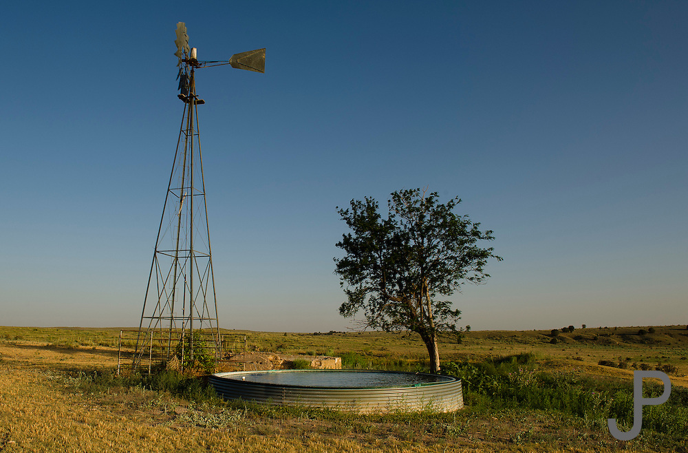 Windmill pumping water in southeast Colorado