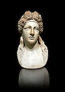 2nd century AD Roman marble sculptured head known as The Farnese Dionysus,  a Roman copy of a  Hellenistic Geek original, inv 6034, Naples Museum of Archaeology, Italy ..<br /> <br /> If you prefer to buy from our ALAMY STOCK LIBRARY page at https://www.alamy.com/portfolio/paul-williams-funkystock/greco-roman-sculptures.html . Type -    Naples    - into LOWER SEARCH WITHIN GALLERY box - Refine search by adding a subject, place, background colour, etc.<br /> <br /> Visit our ROMAN WORLD PHOTO COLLECTIONS for more photos to download or buy as wall art prints https://funkystock.photoshelter.com/gallery-collection/The-Romans-Art-Artefacts-Antiquities-Historic-Sites-Pictures-Images/C0000r2uLJJo9_s0