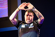 Michael Smith takes to the stage during the World Darts Championship at Alexandra Palace, London, United Kingdom on 27 December 2015. Photo by Shane Healey.