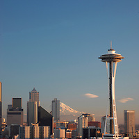 Downtown Seattle & Space Needle in front of Mount Rainier on a rare clear winter day.