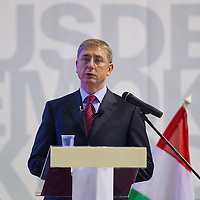 Ferenc Gyurcsany former prime minister of Hungary delivers his speech during the Foundation of the Democratic Coallition Party in Budapest, Hungary on October 22, 2011. ATTILA VOLGYI