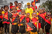 Day dedicated to school children, Goroka festival, 140 ethnic tribes come together for three day Sing sing, Goroka, Eastern Highlands, Papua New Guinea