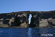 Keyhole Arch marks a popular dive site at Lehua Rock, off the coast of Ni'ihau Island, 17.5 miles west of Kauai, Hawaii, United States ( Central Pacific Ocean )