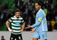 20120308: LISBON, PORTUGAL -UEFA Europa League 2011/2012 - 1st Leg: Sporting CP vs Man. City.<br /> In photo: Ricky van Wolfswinkel and Joleon Lescott<br /> PHOTO: Alvaro Isidoro/CITYFILES