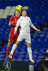 LONDON, ENGLAND - Wednesday, February 1, 2012: Liverpool's Ryan McLaughlin in action against Tottenham Hotspur's Tomislav Gomelt during the NextGen Series Quarter-Final match at White Hart Lane. (Pic by David Rawcliffe/Propaganda)