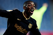 Ousmane Dembele of FC Barcelona celebrates after scoring goal during the La Liga match between Real Sociedad CF and FC Barcelona at Reale Arena on March 21, 2021 in San Sebastian, Spain.