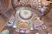 Ornate domes columns of the Blue Mosque, Sultanahmet Camii or Sultan Ahmed Mosque, 17th Century, Istanbul, Turkey