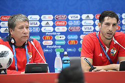 June 17, 2018 - Sochi, RUSSIA - Panama's Head Coach Hernan Gomez and Panama's Jaime Penedo pictured during a press conference of the Panama national soccer team in Sochi, Russia, Sunday 17 June 2018. The team is preparing for their first game at the FIFA World Cup 2018 against Belgian national soccer team the Red Devils tomorrow. BELGA PHOTO BRUNO FAHY (Credit Image: © Bruno Fahy/Belga via ZUMA Press)
