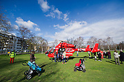 The air ambulance lands on Clapham Common.