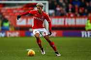 Charlton Athletic forward Lyle Taylor (9) on the ball during the EFL Sky Bet League 1 match between Charlton Athletic and Accrington Stanley at The Valley, London, England on 19 January 2019.