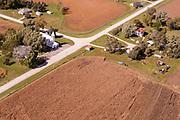 Aerial photograph of St. John Lutheran Church and  farmland in Mills County, Iowa, USA.