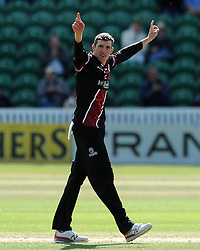 Somerset's Craig Overton celebrates the wicket of Durham's Phil Mustard - Photo mandatory by-line: Harry Trump/JMP - Mobile: 07966 386802 - 29/07/15 - SPORT - CRICKET - Somerset v Durham - Royal London One Day Cup - The County Ground, Taunton, England.