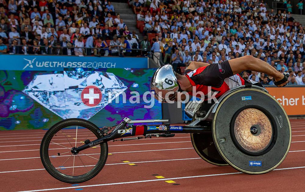 Marcel HUG of Switzerland competes in the Men's 3000m Wheelchair Pursuit during the Iaaf Diamond League meeting (Weltklasse Zuerich) at the Letzigrund Stadium in Zurich, Switzerland, Thursday, Aug. 29, 2019. (Photo by Patrick B. Kraemer / MAGICPBK)