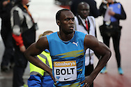 Usain Bolt of Jamaica after winning the 100m heat during the Sainsbury's Anniversary Games at the Queen Elizabeth II Olympic Park, London, United Kingdom on 24 July 2015. Photo by Phil Duncan.