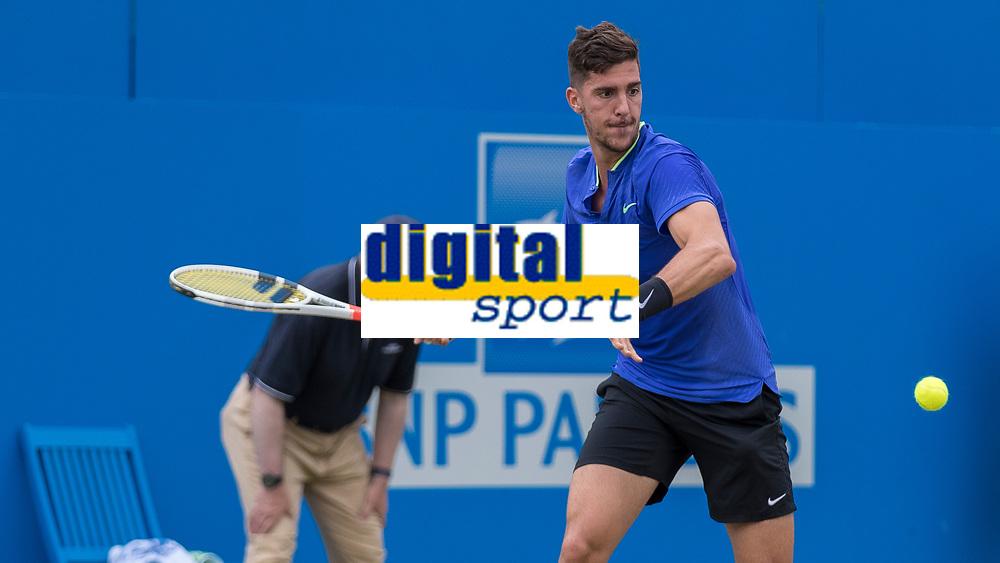 Tennis - 2017 Aegon Championships [Queen's Club Championship] - Day Four, Thursday <br /> <br /> Men's Singles: Round of 16 - Daniil MEDVEDEV (RUS) Vs Thanasi KOKKINAKIS (AUS)<br /> <br /> Thanasi Kokkinakis (AUS) prepares for a forehand drive at Queens Club<br /> <br /> COLORSPORT/DANIEL BEARHAM
