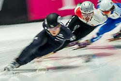 Shaolin Sandor Liu of Hungary in action on 1000 meter during ISU World Short Track speed skating Championships on March 05, 2021 in Dordrecht