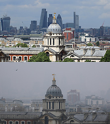 © Licensed to London News Pictures. 19/03/2015. Comparison photo from Greenwich as toxic smog covers large parts of the UK. Visibility has been badly reduced while there have been warnings about the quality of the air.  Stock photo from 2014 to be compared with same shot today. Credit : Rob Powell/LNP