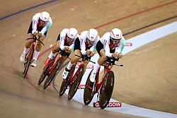 Switzerland Men Team Pursuit led by Cyrille Thiery during day one of the 2018 European Championships at the Sir Chris Hoy Velodrome, Glasgow. PRESS ASSOCIATION Photo. Picture date: Thursday August 2, 2018. See PA story SPORT European. Photo credit should read: John Walton/PA Wire. RESTRICTIONS: Editorial use only, no commercial use without prior permissionduring day one of the 2018 European Championships at the Sir Chris Hoy Velodrome, Glasgow. PRESS ASSOCIATION Photo. Picture date: Thursday August 2, 2018. See PA story SPORT European. Photo credit should read: John Walton/PA Wire. RESTRICTIONS: Editorial use only, no commercial use without prior permission