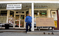 Southbury, Conn. - Feb. 17, 2009 - South Britain Country Store owner Tony Scheessele is openly pleading for business with a sign he's placed outside his store, pictured on Tuesday..Josalee Thrift Photo