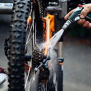 James Munly - Das Rad Haus bike shop owner cleaning up a bike before tuning in Leavenworth, Washington.
