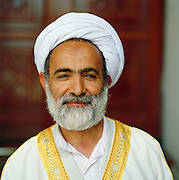 Portrait of an Imam, an Islamic religious leader, at the Umayyad Mosque (the Grand Mosque of Damascus) in Damascus, Syria