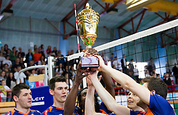 Players of ACH celebrate after winning the volleyball match between Calcit Volleyball and ACH Volley in 4th Final Round of Radenska Classic League 2012/13 on April 16, 2013 in Arena Kamnik, Slovenia. ACH Volley defeated Calcit Kamnik in games 3-1 and became Slovenian National Champion 2013.(Photo By Vid Ponikvar / Sportida)