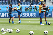 Brazil players warm up before the 2018 FIFA World Cup Russia, Group E football match between Brazil and Costa Rica on June 22, 2018 at Saint Petersburg Stadium in Saint Petersburg, Russia - Photo Thiago Bernardes / FramePhoto / ProSportsImages / DPPI
