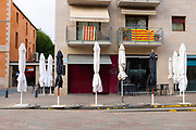 Bars and restaurants closed. Empty streets in Sant Cugat del Valles, a normally bustling city of some 90,000 people outside Barcelona, on the day before Spain exerted a state of Emergency to deal with the spread Coronavirus. Spain is one of the worst affected countries. Schools and retail businesses are closed, except for supermarkets and pharmacies.