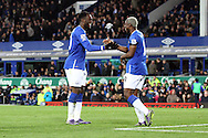 Romelu Lukaku of Everton (l) celebrates with his teammate Arouna Kone after scoring his teams 4th goal. Barclays Premier League match, Everton v Aston Villa at Goodison Park in Liverpool on Saturday 21st November 2015.<br /> pic by Chris Stading, Andrew Orchard sports photography.