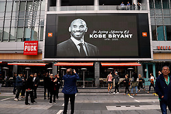 File photo of A screen shows a memorial for Kobe Bryant, who died in a helicopter crash, on Sunday, Jan. 26, 2020, at Staples Center in Los Angeles, Calif. (Dania Maxwell/Los Angeles Times/TNS/ABACAPRESS.COM)