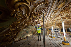 IMAGES SHOT ON APRIL 20TH 2021 © Licensed to London News Pictures. 12/05/2021. Blackpool, UK. Project Manager Keith Langton inspects and oversees the major conservation project taking place in the Tower Ballroom, in Blackpool, Lancashire on April 20, 2021. The Blackpool Tower Ballroom, located in the Grade 1 Listed Tower and which dates back to 1894, has undergone the most extensive programme of work and deep clean for more than 60 years totaling £1.1M. A team of skilled, specialist craftsmen, who have worked across the world on projects including the Queen's Gallery at Buckingham Palace, have dedicated more than 21,000 hours, over a period of six months, to restore the famous Ballroom to its original glory. Due to the Coronavirus pandemic the ballroom has now been closed for over 12 months and is scheduled to re-open to the public on June 21, 2021. Photo credit: Oli Scarff/LNP