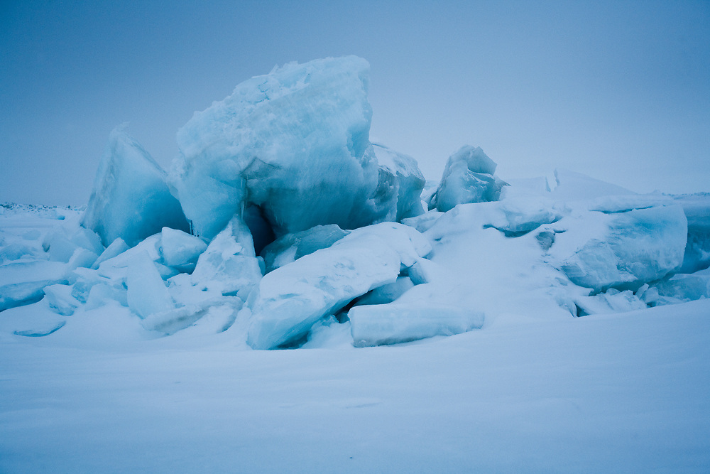 Ice ridge in Arctic Ocean near Point Hope, Alaska