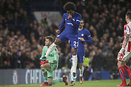 Willian of Chelsea celebrates after he scores Chelsea's 4th goal. <br /> Premier league match, Chelsea v Stoke city at Stamford Bridge in London on Saturday 30th December 2017.<br /> pic by Kieran Clarke, Andrew Orchard sports photography.