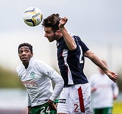 Hibernian's Dominique Malonga. <br /> Falkirk 0 v 3 Hibernian, Scottish Championship game played at The Falkirk Stadium 2/5/2015.