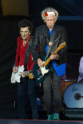 Keith Richards and Ronnie Wood of The Rolling Stones perform on stage at Ricoh Arena on June 02, 2018 in Coventry, England. Picture date: Saturday 02 June, 2018. Photo credit: Katja Ogrin/ EMPICS Entertainment.