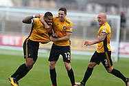Joss Labadie of Newport county (4) celebrates with teammates David Pipe ® and Ben Tozer (12) after he scores his teams 2nd goal. EFL Skybet football league two match, Newport county v Yeovil Town at Rodney Parade in Newport, South Wales on Saturday 7th October 2017.<br /> pic by Andrew Orchard,  Andrew Orchard sports photography.